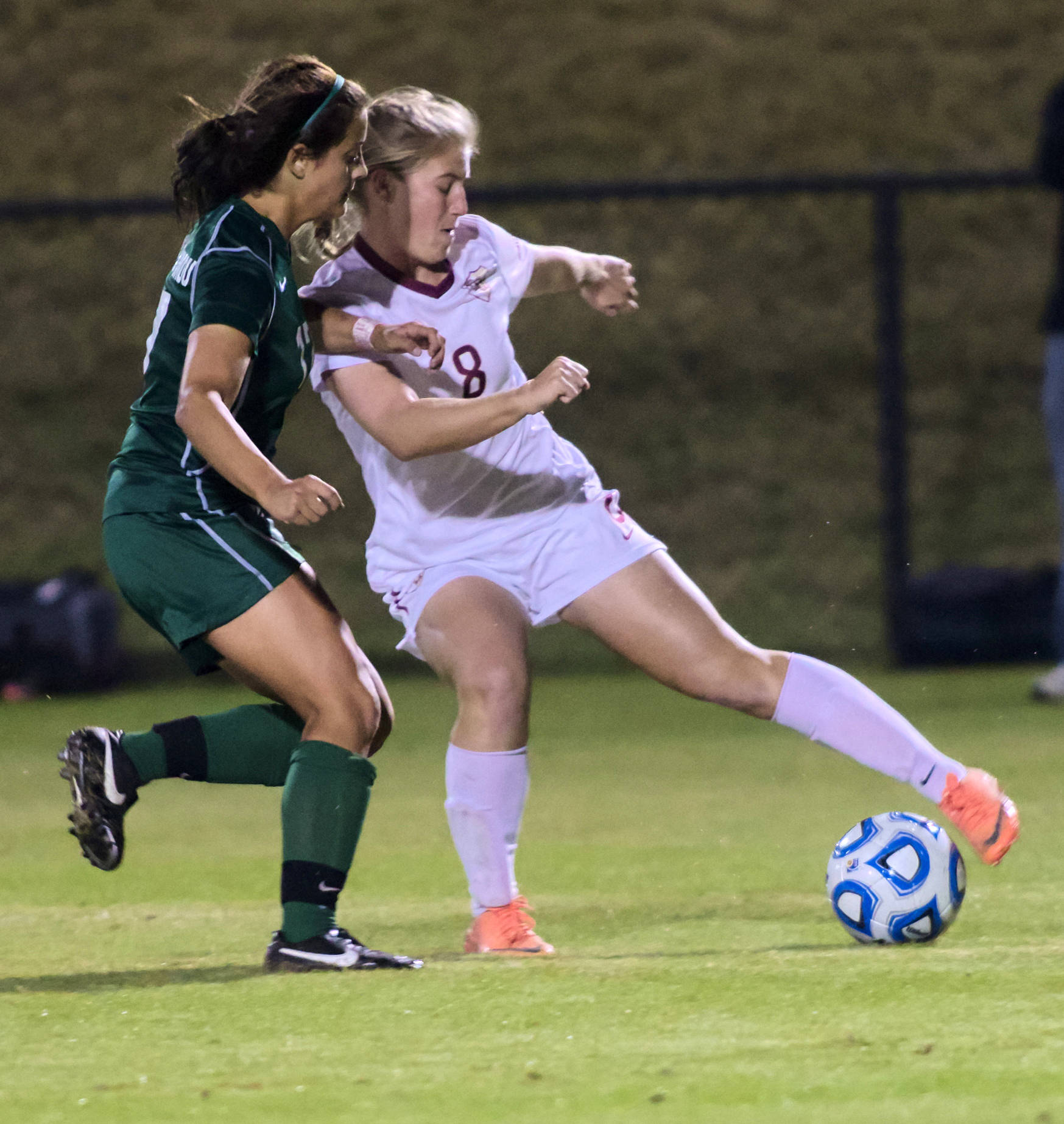 Michaela Hahn (8), FSU vs MVSU, 11/09/12. (Photo by Steve Musco)