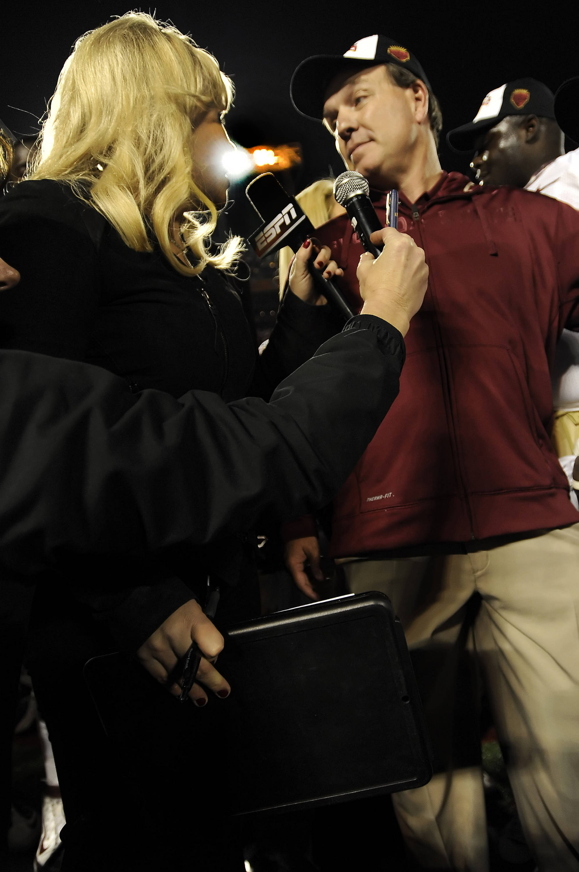 Jimbo Fisher interviewed by ESPN's Holly Rowe following the win