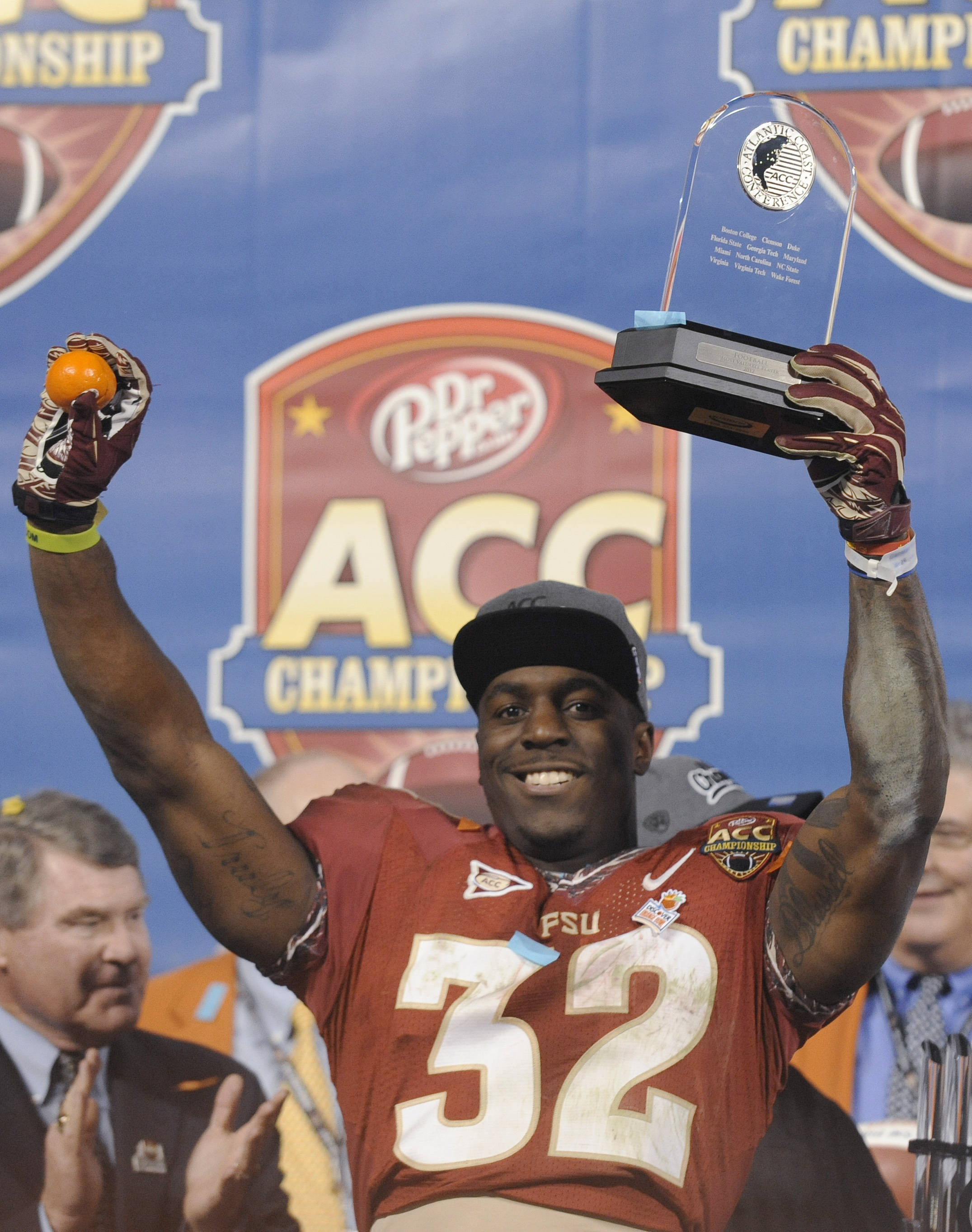 Florida State's James Wilder Jr. (32) celebrates the team's 21-15 win over Georgia Tech in the Atlantic Coast Conference championship NCAA college football game in Charlotte, N.C., Saturday, Dec. 1, 2012. Wilder was the game MVP. (AP Photo/Mike McCarn)