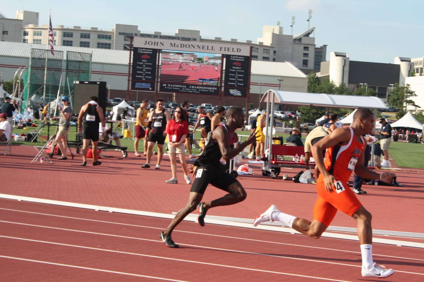 Charles Clark won his 200m heat.